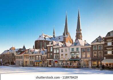 Delft Main Square at Winter Snowy Sunny Day