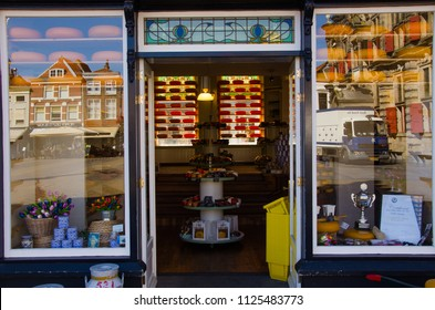 Delft, Netherlands, 02-07-2018: A Cheese store in the centre of Delft