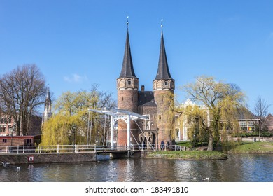DELFT, NETHERLANDS -  15th of March 2014: The historical east gate in spring DELFT, NETHERLANDS  on 15th of March 2014