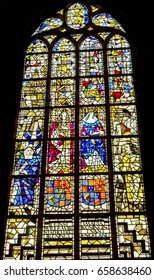 DELFT, NETHERLANDS - APRIL 1, 2017 King William of Orange Queen Mary Stained Glass New Cathedral Nieuwe Kerk Delft Netherlands Holland Netherlands. Built in 1300s, burial place Royal Family.