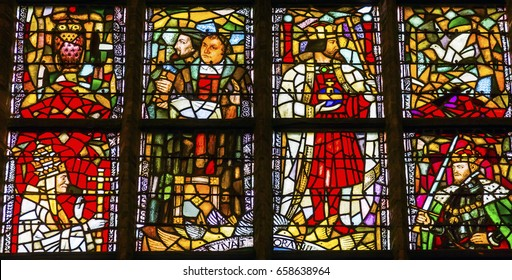 DELFT, NETHERLANDS - APRIL 1, 2017 Martin Luther Stained Glass New Cathedral Nieuwe Kerk Dutch Reformed Church Delft Netherlands Holland. Church built in 1300s, burial place of the Royal Family.