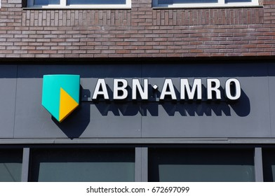 Delft, Netherlands. April 2017. Logo of the Dutch ABN Amro bank on a wall.