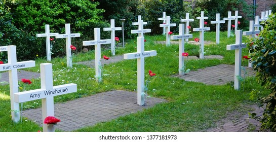 Delft, The Netherlands - April 21, 2019:  Prinsenhof, Temporary cemetery which is part of the exhibition 'Mojo backstage. Dutch masters of the music industry.' A cemetery made for deceased pop stars