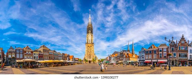 DELFT, NETHERLANDS, AUGUST 6, 2018: Nieuwe Kerk viewed from the markt square of Delft, Netherlands