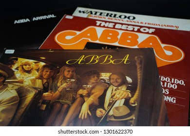 Delft, The Netherlands - February 1, 2019: ABBA records collection