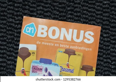 Delft, the Netherlands. January 2019. Leaflet from Dutch supermarket called Albert Heijn, containing discounted items for the coming week.