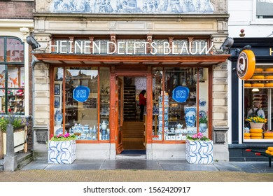 DELFT, NETHERLANDS, - JULY, 8, 2019: The Heinen Delftware Shop, Delft in the Netherlands.