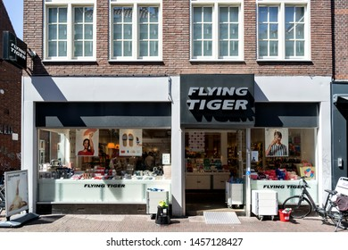 DELFT, THE NETHERLANDS - JUNE 29, 2019: Flying Tiger store. Flying Tiger Copenhagen is a Danish variety store chain and has nearly 1,000 stores worldwide.