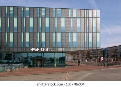Delft, The Netherlands - march 15, 2018: Entrance of new built railway station Delft