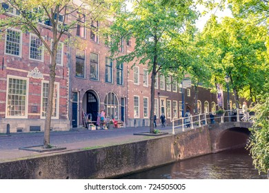 DELFT, THE NETHERLANDS - MAY 20 2017: City landscape in Delft in the Netherlands at day time and bicycle