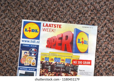Delft, the Netherlands. September 2018. A brochure from Lidl, a Dutch grocery shop, on a doormat.