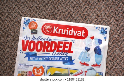Delft, the Netherlands. September 2018. A brochure from Kruidvat, a Dutch retail shop, on a doormat.