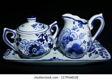Delft porcelain creamer and sugar bowl