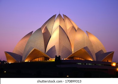 DELHI  DECEMBER 28: Lotus Temple on December 28, 2013 in Delhi.Baha'i House of Worship,also called  Lotus Temple was completed in 1986