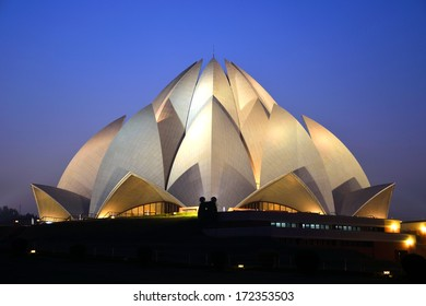 DELHI - DECEMBER 28: Lotus Temple on December 28, 2013 in Delhi.Baha'i House of Worship,also called the Lotus Temple was completed in 1986.