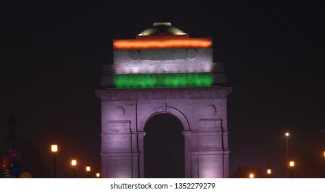 Delhi, Delhi/India - March 2019: Beautiful night view of India gate, Delhi.