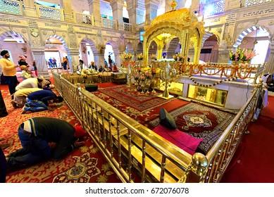 DELHI - February 10, 2017: Gurudwara Sis Ganj Sahib Sikh Temple was first established in 1783 by Baghel Singh to mark the martyrdom of the Sikh Guru, Guru Teg Bahadur in Delhi, India
