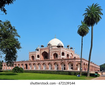 DELHI - February 9, 2017: Beautiful view of famous Humayun s Tomb, built in the 16th century. It is the resting place of the Mughal Emperor Humayun in Delhi, India