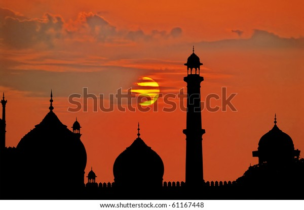 Delhi great mosque at sunset.