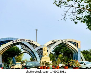 Delhi /India- 07 05 19: an arch welcoming people and citizens of India to Noida stating welcome to Noida. end of Delhi and begining of Noida
