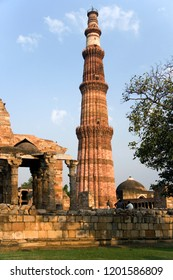 Delhi. India. 10.14.06. The Qutb Minar, a UNESCO World Heritage Site in Delhi, India. Built of red sandstone and marble, it is the tallest minaret in India, with a height of 72.5m. Dates from 1192.