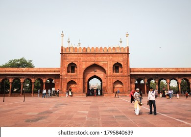 Delhi, India - 11/12/2018: Jama Masjid Gate photographed in a sunny day with lots of tourists