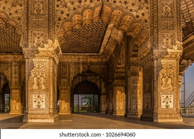 DELHI INDIA - 15.02.2018 - beautifully decorated arches in the interior of the Red Fort