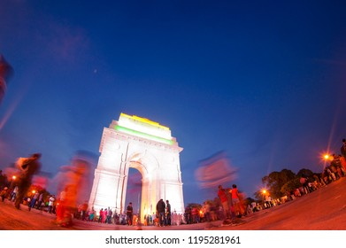 Delhi, India - 18th Aug 2018: fisheye shot of the central compound of india gate with people looking at the monument from the designated area. shot during night