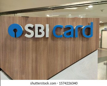 Delhi, India 2019 : SBI Cards logo which is coming up with initial public offering IPO. It is subsidiary of India largest public sector bank SBI