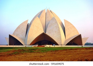 DELHI, INDIA -23 DEC 2016- Built in 1986, the landmark flower shaped Lotus Temple is a Baha'i House of Worship.