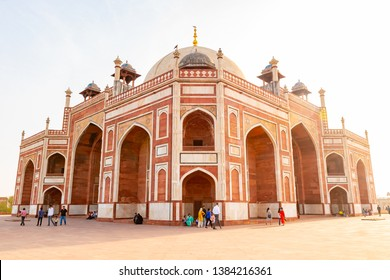 Delhi, India, 30 March 2019 - Humayun's tomb is the tomb of the Mughal Emperor Humayun in Delhi, India. The tomb was commissioned by Humayun's first wife and chief consort, Empress Bega Begum
