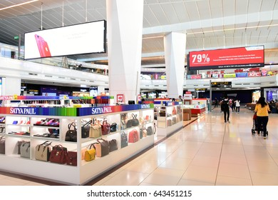 DELHI, INDIA - 9 APR 2017 : Duty free shop at  Indira Gandhi International Airport. There are many items for shopping without taxes.