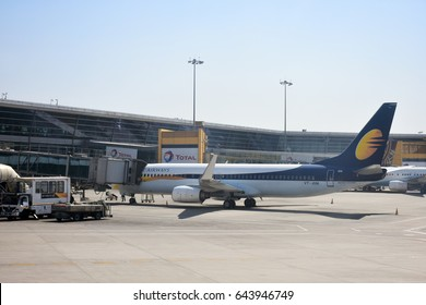 DELHI, INDIA - 9 APR 2017 : Jet Airways plane parked at Indira Gandhi International Airport ,Delhi, India. It is an Indian airline based in Mumbai and was the second largest airline in India .