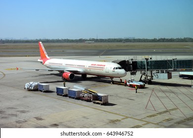 DELHI, INDIA - 9 APR 2017 :Air India plane parked at Indira Gandhi International Airport ,Delhi, India. It is the flag carrier airline of India.