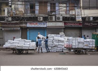 DELHI INDIA - APR 1 : goods transportation in morning at chawri bazar. this area is biggest wholesale market in old delhi of Delhi on april, 1, 2015, india