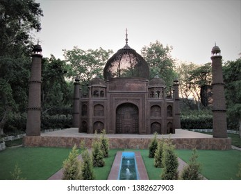 Delhi, Delhi / India - April, 23, 2019 : Replica of world famous Taj Mahal made from waste material located in Waste to Wonder Park, Delhi, India.