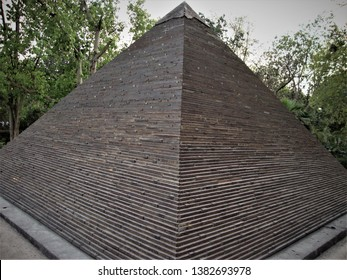Delhi, Delhi / India - April, 23, 2019 : Replica of Great Pyramid of Giza made from waste material situated at Waste To Wonder Park, Delhi, India.