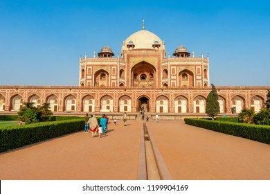 Delhi, India - April 24, 2018 : Beautiful view of Humayun's Tomb is the tomb of the Mughal Emperor Humayun and the first garden-tomb on the Indian, It inspired construction of the Taj Mahal.