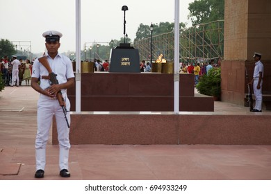 DELHI, INDIA - AUGUST 10, 2017: Amar Jawan Jyoti (Flame of the immortal soldier) is an Indian memorial constructed after the Indo-Pakistani War of 1971.