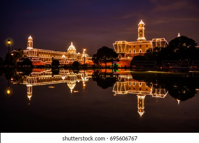 DELHI, INDIA - AUGUST, 2017: Illuminated President House in India with reflection on the occasion of 70th Independence Day