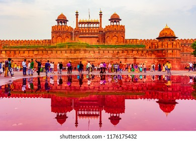 Delhi, India – August 2018: Red Fort is a UNESCO world Heritage Site. On Independence day, the Prime Minister hoists Indian flag at main gate of fort & delivers nationally broadcast speech.