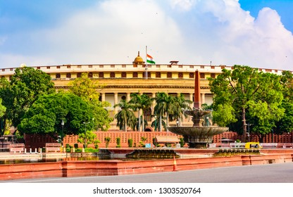 Delhi, India – August 2018: The Sansad Bhawan or Parliament Building is the house of the Parliament of India, New Delhi. It was designed by the British architect Edwin Lutyens & Herbert Baker in 1912.