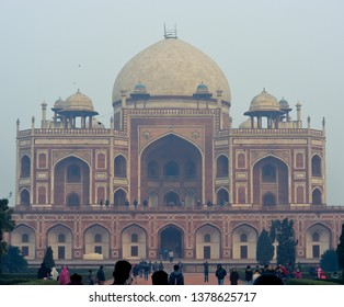Delhi, India- c. 2015 Humayun's tomb in delhi, India. Mughal Empire, dynasty, monument, landmark, close up, building.