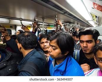 Delhi, India - Circa January, 2016 - Inside the indian metro