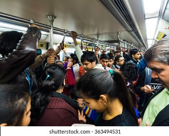 Delhi, India - Circa January, 2016 - Inside the indian metro