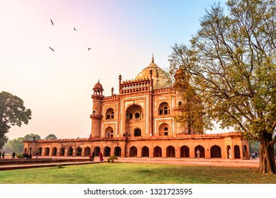 Delhi, India - December 2018: Safdarjung's Tomb is a red sandstone and marble mausoleum in Delhi, India. It was built in 1754 in the late Mughal Empire style for Nawab Safdarjung.