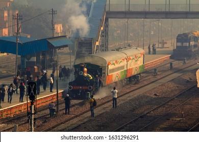 Delhi, India - December 2019 : World's Oldest Steam Locomotive, East India Railway EIR 22 Locomotive (Fairy Queen) on special run between Delhi Cantonment and Rewari steam shed.