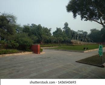 Delhi, India- December 21, 2017:  Dandi march statue Newdelhi, India. Statue depicting the Salt March, led by Mahatma Gandhi and his followers.