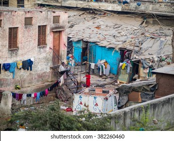 Delhi, India - December 27, 2015 - View on a rather poor area of DElhi