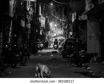 delhi, India - December 27, 2015 - blur on purpose shots of the streets of delhi at night